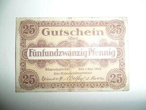 BANCONOTA 25 PFENNIG GERMANIA SPL