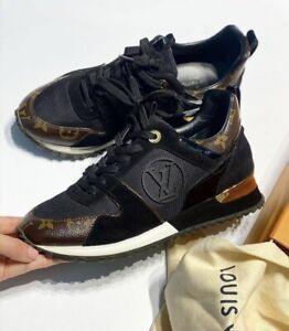 Louis Vuitton Run Away Black Leather Monogram LV Logo Sneakers Size EU 37 US 7