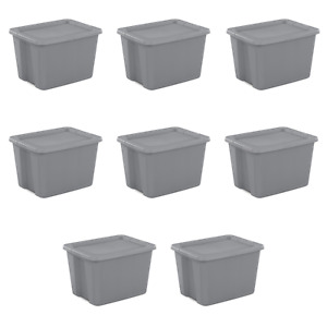 Plastic Storage Containers 18 Gallon Stackable Tote Box Bin w/ Lid 8 & 6 Count
