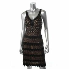 SUE WONG NEW Black Mesh Sequined Party Cocktail Dress 12 95% Nylon/5% Polyester,