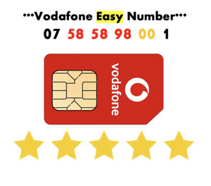 Vodafone Sim Card Easy Number GOLD VIP Sim Fancy Number ' 07 58 58 98 001'