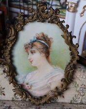 ANTIQUE 1800's  Signed Miniature Framed Painting on Ivory Young Lady Dollhouse
