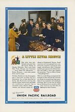 1943 Union Pacific Railroad Ad Servicemen at Omaha Union Station Nebraska WWII