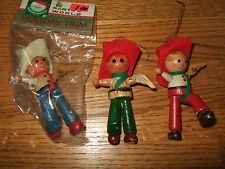 lot 3 vintage wooden wood cowboy christmas ornaments kurt adler 80s? red hats