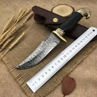 DAMASCUS SURVIVAL OUTDOOR CAMPING HUNTING KNIFE FIXED BLADE EBONY BRASS W SHEATH
