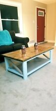 Rustic blue and brown Coffee Table with bottom shelf