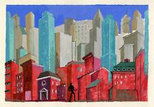 URBAN SKYLINE STAGE DESIGN, vintage gouache, c. 1950's.