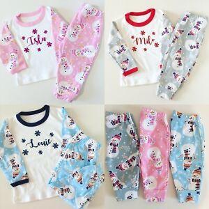 Personalised Christmas Snowman Pyjamas - Children Sizes Xmas Pj's - Cute Design!