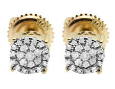 Ladies Men's 10K Yellow Gold Real Diamond Round Cluster Studs Earrings .18ct 5MM