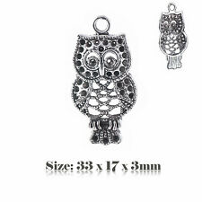 5 Tibetan Silver Antique Vintage Style Owl Charms Pendant Steampunk 026s