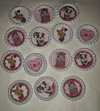 7 misc Valentines day love Valentine bottle cap magnets cupcake toppers kid gift