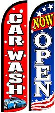 Car Wash Now Open Windless Standard Size Swooper Flag Sign Banner Pk of 2