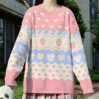 Kawaii Women Sweater Jumper Pullover Cute Strawberry Loose Knitted Tops Pink sz