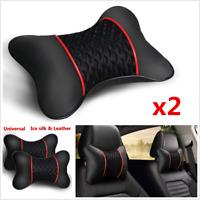Pair Car Headrest Neck Pillow Ice Silk+Leather Cervical Pillow Seat Neck Pillows