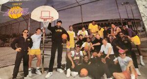 RARE VNTG Los Angeles Lakers 1990 Poster Magic Johnson Vlade Divac FOOT LOCKER ☆