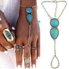 Women Boho Turquoise Bead Chain Slave Hand Harness Bracelet Finger Ring Jewelry