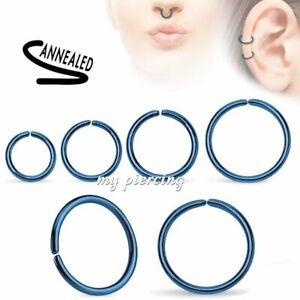 2pcs. Surgical Steel Seamless Hoop Nose Ring Earring Cartilage Labret Septum