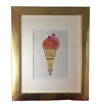 Andy WARHOL Ice Cream Cone Print Art Gold tone New Frame Kitchen Decor 11 x 9