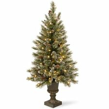4 ft. Glittery Bristle Pine Pre-Lit Christmas Tree - Clear Lights, Green