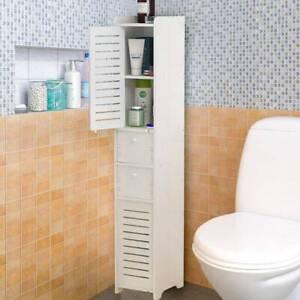 Hochschrank Badschrank Badezimmerschrank mit 2 Schubladen Badregal Weiß