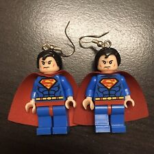 Superman Lego Minifigure Earrings With Sterling Silver Earring Hooks