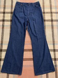 Vintage 70s Wrangler Wide Leg Bell Bottom High Waist Dark Blue Jeans 31x32! 6360