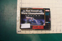 Super Nintendo game in box--NIGEL MANSELL'S WORLD CHAMPIONSHIP RACING w Ins.
