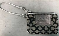 Coach Poppy Wallet Wristlet Black And Silver Zip Up C Pattern