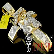 Mens Yellow Gold Finish Pave Diamond Jesus Face Cross Pendant Piece Charm 1/4 Ct