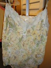 ANN TAYLOR LOFT SIZE 6 YELLOW BROWN GREEN CREAM SHEER LINED CAMI WITH LACE TRIM