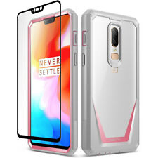 Poetic OnePlus 6 Case [Guardian] Rugged Clear Bumper With Tempered Glass 4 Color