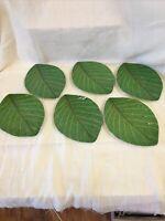 YC MELAMINE WARE Green Banana Leaf Appetizer Plates / Dessert Set Of 6 #3909
