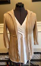 Motherhood Maternity Open Front Knit Cardigan 3/4 Sleeve Size Medium Tan / Khaki