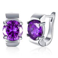 Sterling Silver Pear Amethyst Dangle Drop Earrings Jewelry for Women Jewelry