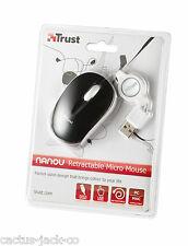 NUOVO TRUST BLACK & WHITE NANOU USB Ottico Mouse Micro con retractible PIOMBO