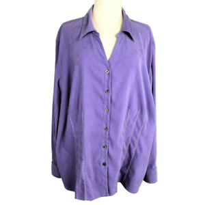 Women 30 32 Plus Faux Suede Top Fitted Stretch Button Front LS Embroidery Purple