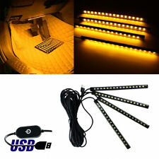 Universal Amber USB 12-LED Car Ambient Interior Decoration Styling Light Strips