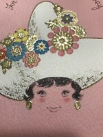 Vintage Birthday Card Girl Sombrero Gold Hoops Art Guild Williamsburg Pink