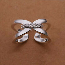 925 Sterling Silver Plated CZ CRYSTAL CROSS RING Thumb/ Wrap Ring ADJUSTABLE