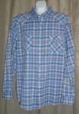 Pendleton Epic Shirt Men's Size XL Blue Plaid Western Pearl Snap Long Sleeve