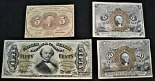 Lot (4) Higher Grade Fractional Currency Notes First, Second, Third Issue 5C 50C