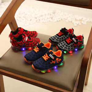 Kids Boys Spider-Man LED Trainers Shoes Superman Flashing Light Up Sneakers UK