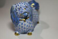 Herend, Pekingese Dog Porcelain Figurine, Blue Fishnet, Excellent, Retail $425