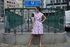 Damen Kleid dress weiß Lila Blumen 70er Gr. 38 True VINTAGE Damenmode 70´s