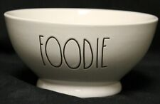 "Rae Dunn Magenta ""Foodie"" Bowl White Cereal Soup Snack Ice Cream Popcorn"