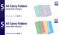 A5 Carry Folders 5 Pack Assorted Document Stud Wallets Office School Stationery