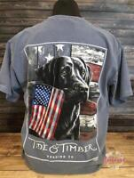 Tide and Timber RED WHITE & TRUE Black Lab w/ Flag Comfort Colors Pocket T-Shirt