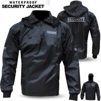 Security Waterproof Rain Hooded Jacket Coat Reflector Sticker Workwear Black