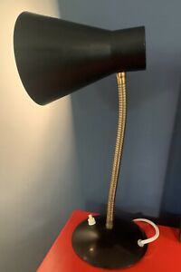 1960'S BlackMetal Cone Goose Neck Desk Table Lamp