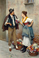 Oil painting Eugen von Blaas The flower seller young woman and man in street